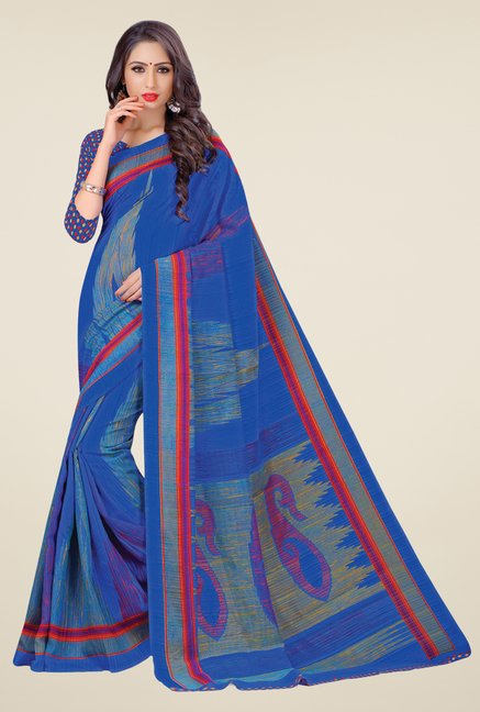 Salwar Studio Blue Cotton Blend Printed Saree