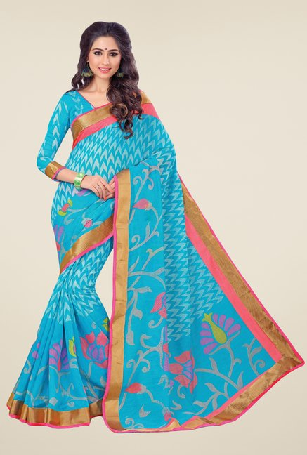 Salwar Studio Aqua Cotton Blend Floral Print Saree