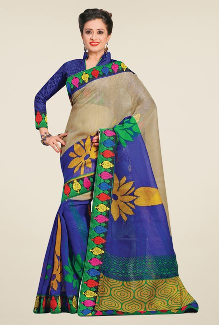 Salwar Studio Beige & Blue Cotton Blend Floral Print Saree