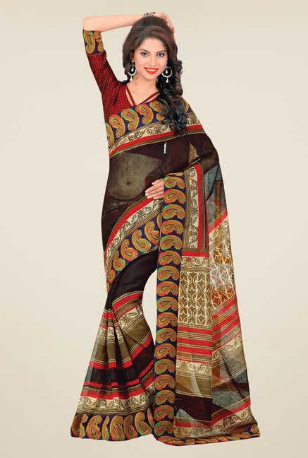 Salwar Studio Multicolor Cotton Blend Paisley Print Saree