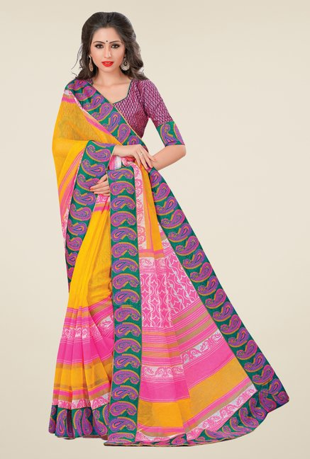 Salwar Studio Yellow & Pink Cotton Blend Paisley Print Saree