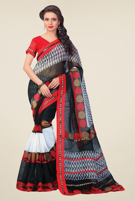 Salwar Studio Black & Red Cotton Blend Printed Saree