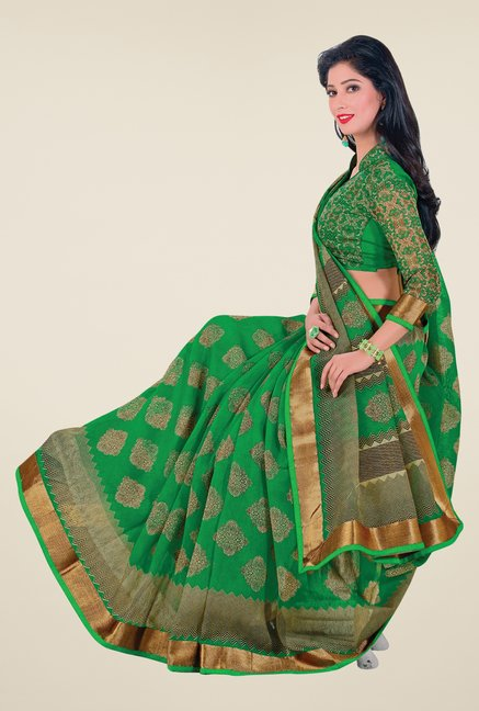 Salwar Studio Green Cotton Blend Printed Saree