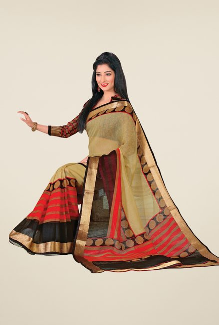Salwar Studio Beige & Black Cotton Blend Printed Saree