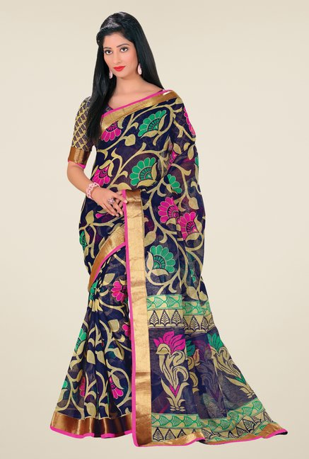 Salwar Studio Navy Cotton Blend Floral Print Saree