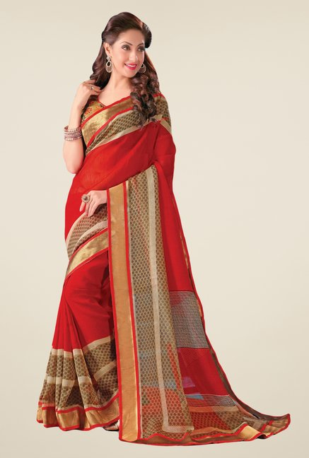 Salwar Studio Red & Beige Cotton Blend Printed Saree