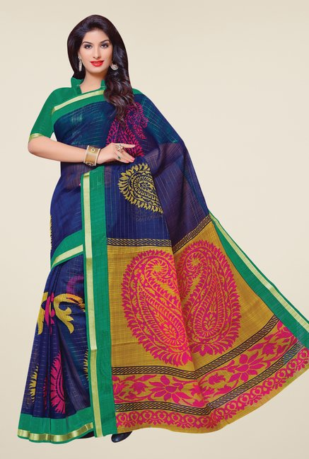 Salwar Studio Navy & Green Cotton Blend Paisley Print Saree