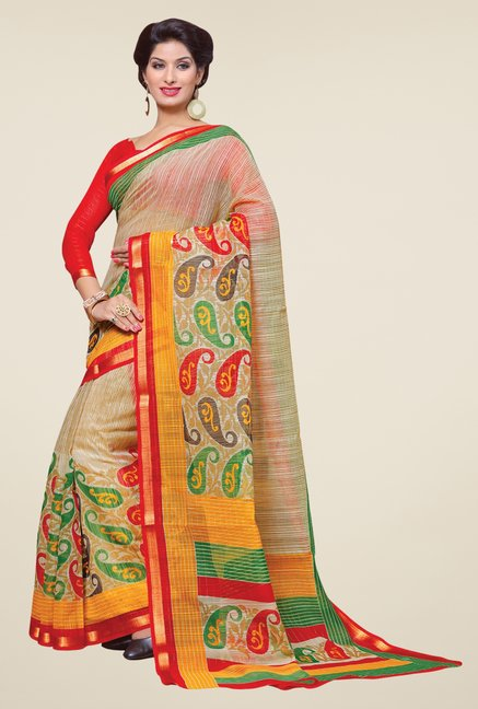 Salwar Studio Beige Cotton Blend Paisley Print Saree