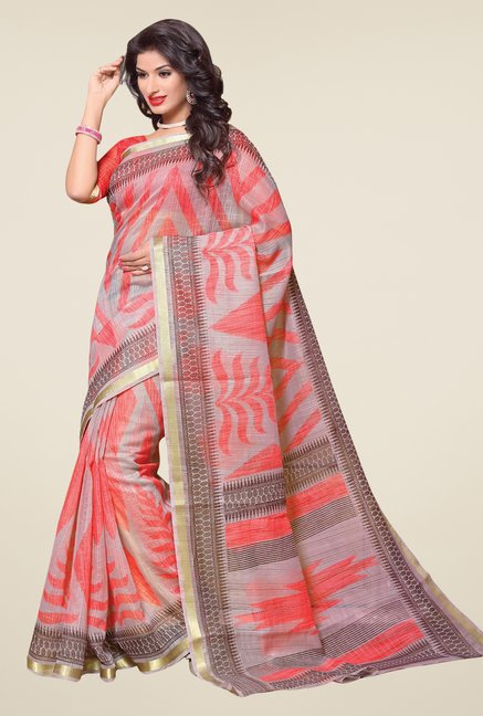 Salwar Studio Grey & Orange Cotton Blend Printed Saree