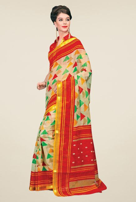 Salwar Studio Cream & Red Cotton Blend Geometric Print Saree
