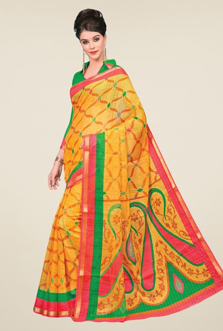 Salwar Studio Yellow Cotton Blend Printed Saree