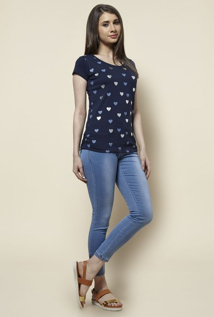 Zudio Navy Heart Print T Shirt