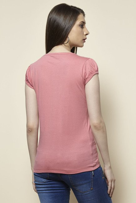 Zudio Pink Printed T Shirt