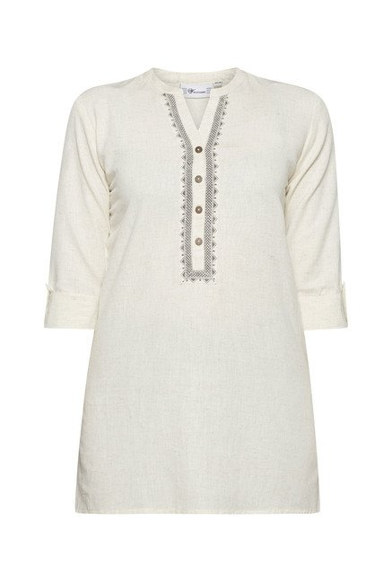 Utsa by Westside Off White Solid Kurti