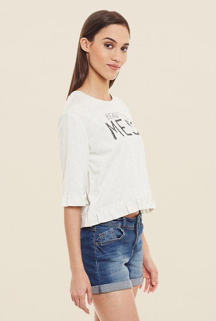 Femella White Graphic Print Crop Top
