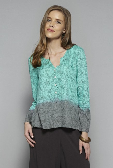 Bombay Paisley by Westside Turquoise Floral Print Top