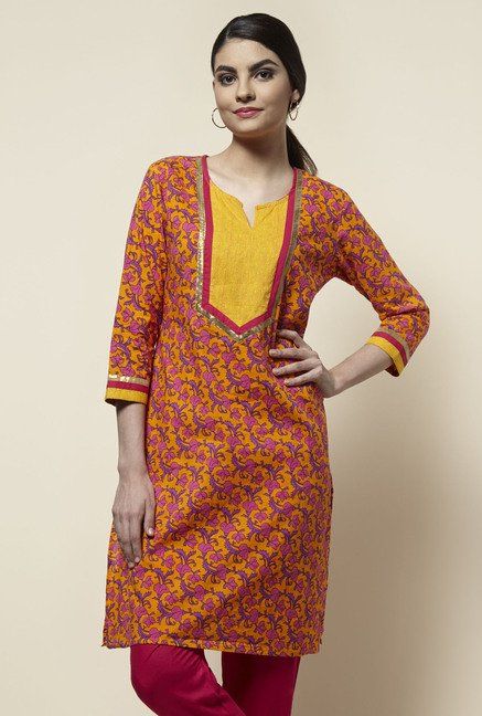 Zudio Orange Printed Kurta