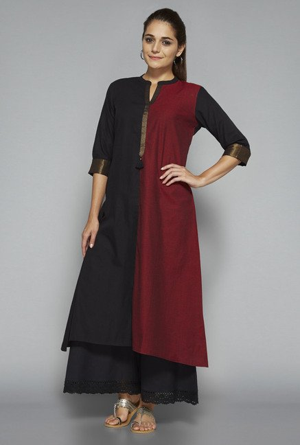 Utsa by Westside Black & Maroon Solid Kurta