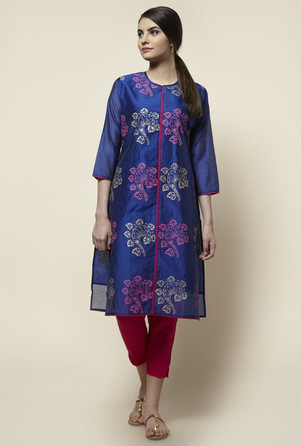 Zudio Blue Block Print Kurta