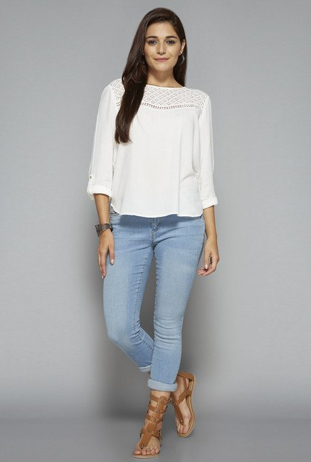 LOV by Westside White Sadie Lace Blouse