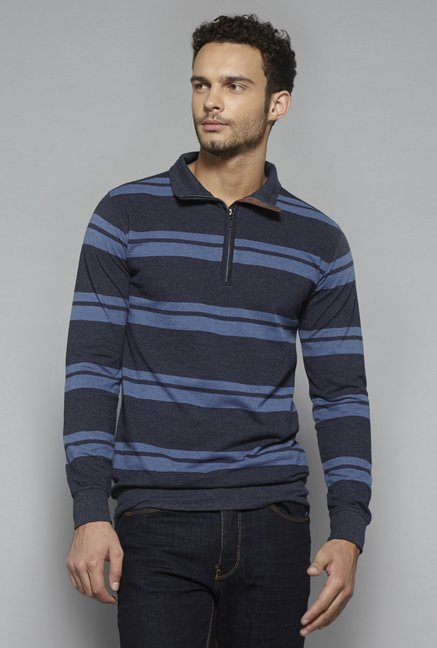 Ascot by Westside Navy Striped T Shirt