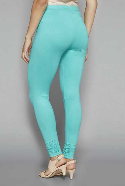 Zuba by Westside Turquoise Solid Leggings