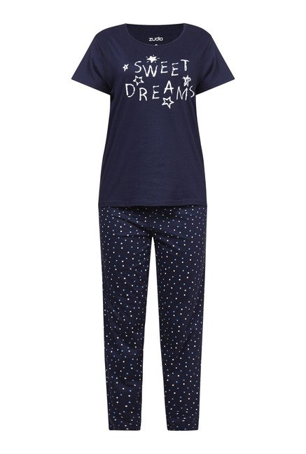 Zudio Navy Printed Pyjama Set
