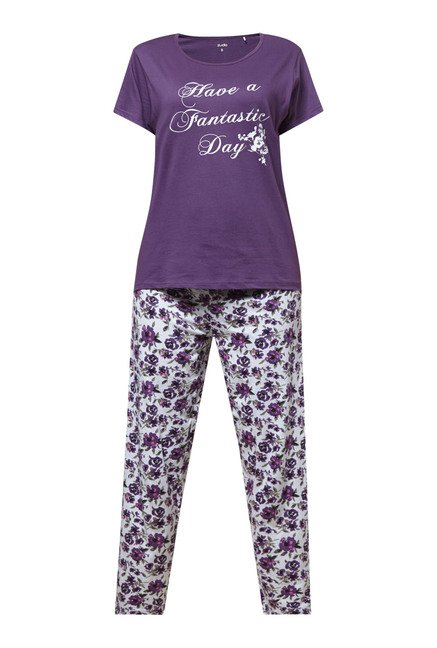Zudio Purple Printed Pyjama Set