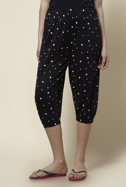 Zudio Black Printed Capri