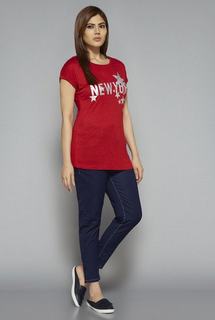Sassy Soda by Westside Red Printed T Shirt