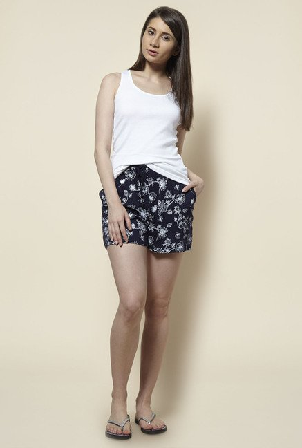 Zudio Navy Printed Shorts