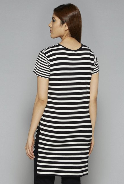 Sassy Soda by Westside Black Striped T Shirt