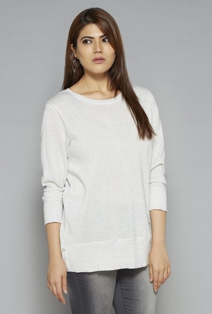 Gia by Westside Off White Shimmer Sweater
