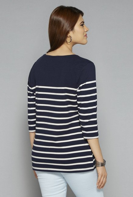 Gia by Westside Navy Striped T Shirt