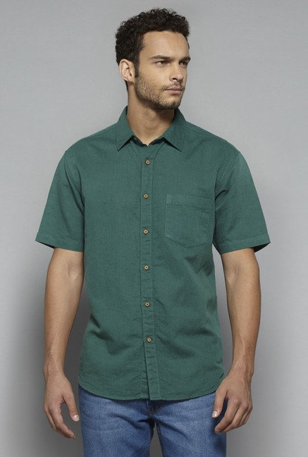 Westsport by Westside Green Solid Shirt