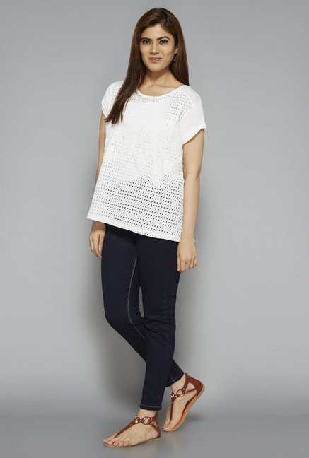 Gia by Westside White Gail Lace Blouse