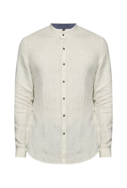 Ascot by Westside Beige Linen Shirt