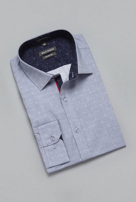 Weststreet by Westside Blue Printed Shirt