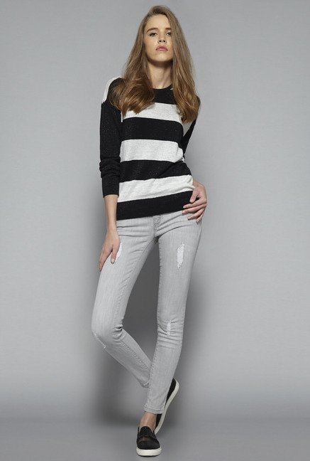 Nuon by Westside Black Striped Sweater