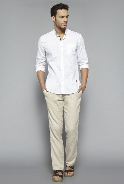 ETA by Westside Beige Linen Trouser
