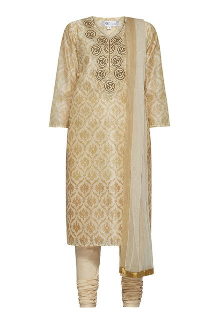 Vark by Westside Beige Printed Suit Set