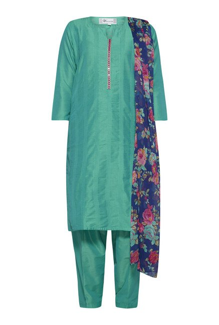 Vark by Westside Teal Solid Suit Set