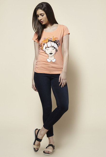 Zudio Peach Printed T Shirt