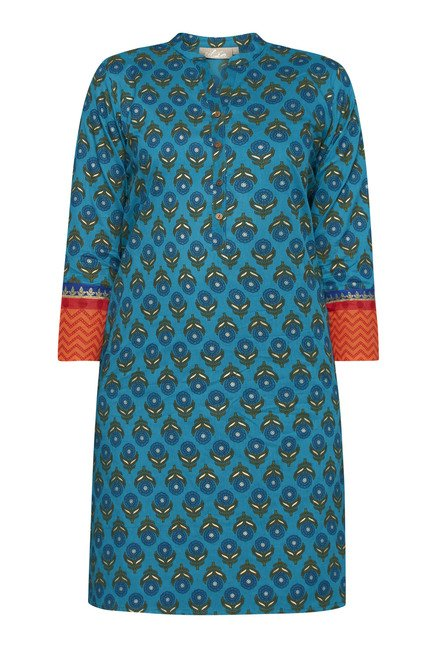 Utsa by Westside Teal Block Print Kurta