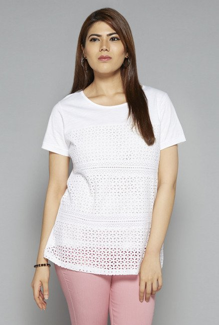 Gia by Westside White Lace T Shirt