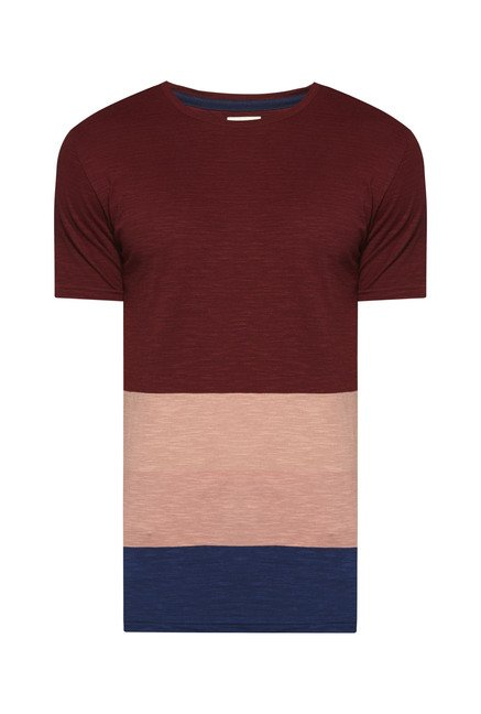 Westsport by Westside Maroon Solid T Shirt