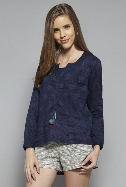 Bombay Paisley by Westside Navy Self Print Top