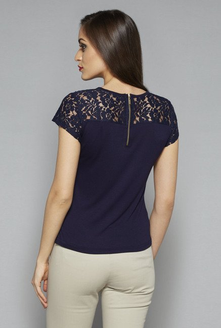 Wardrobe by Westside Navy Tory Lace Top
