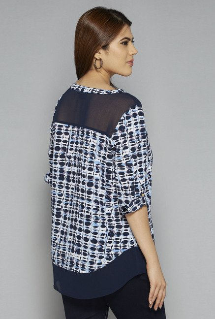 Gia by Westside Blue Debs Printed Blouse