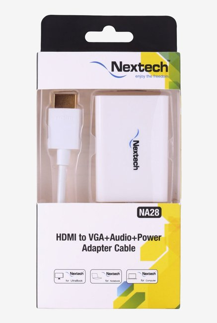 Nextech NA28 HDMI to VGA Adapter with Audio Output (White)
